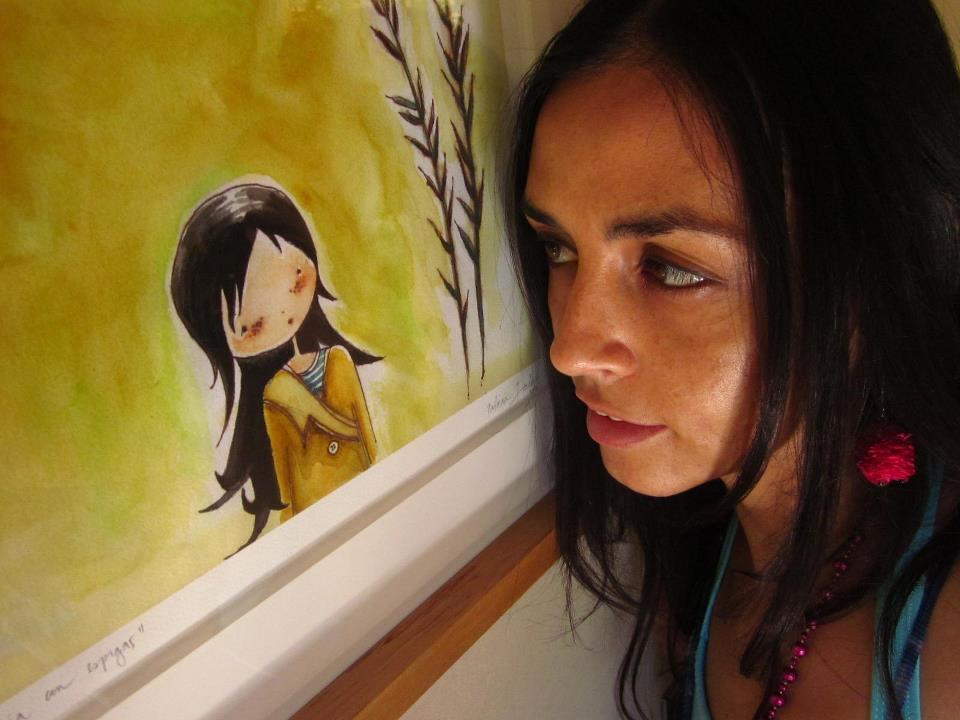 Encuentro con autoretrato. Lápiz y acuarela sobre papel. Ilustración de Patricia Inda. Foto: Patricia Inda
