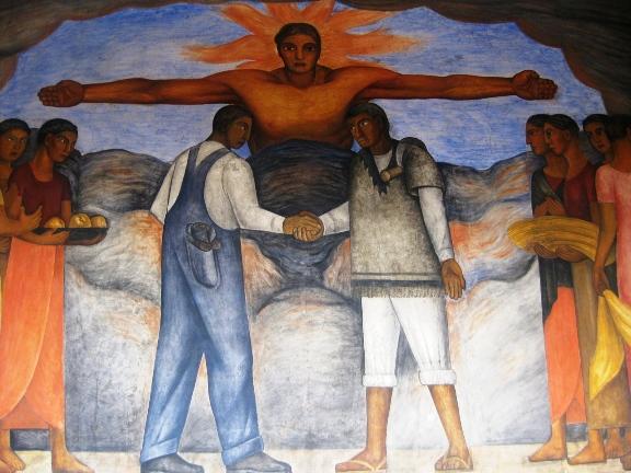 """""""Fraternidad"""", mural de Diego Rivera en la Secretaría de Educación Pública, Ciudad de Mexico. Foto: Ximena Jordán."""