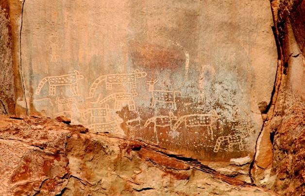 Mural rupestre, sitio arqueologico La Bajada, Desierto de Atacama, Chile. Foto: Ximena Jordan