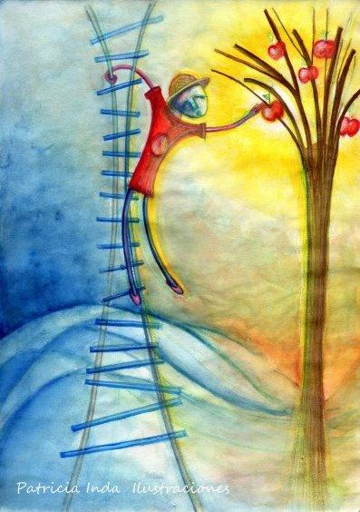 El Señor Manzanas. Lápiz y acuarela sobre papel. Ilustración de Patricia Inda. Foto: Patricia India.