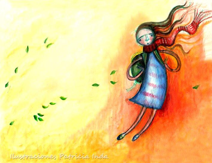 Niña Viento. Lápiz y acuarela sobre papel. Ilustración de Patricia Inda. Foto: Patricia Inda