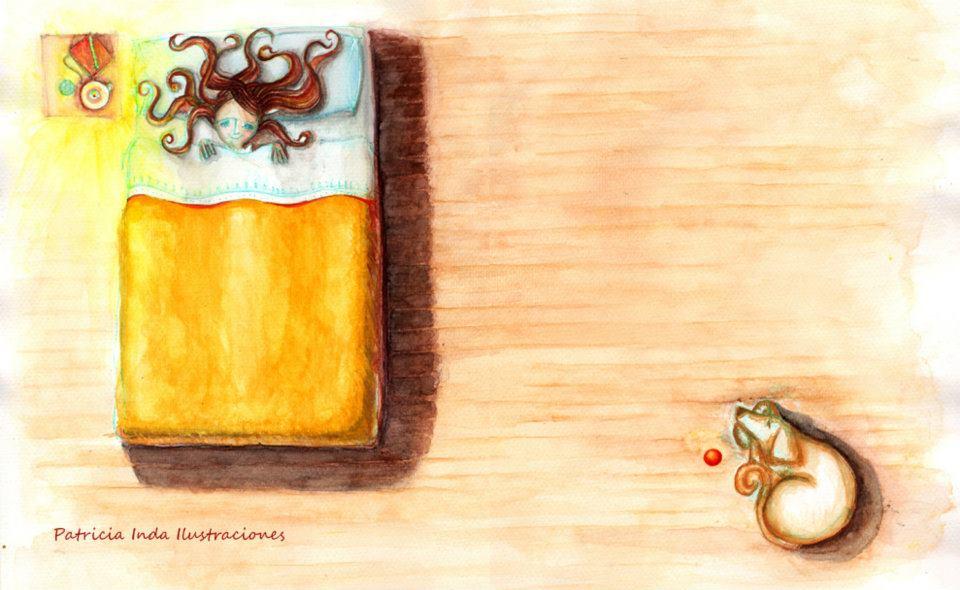 Niña Medusa y perrito. Lápiz y acuarela sobre papel. Ilustración de Patricia Inda. Foto: Patricia India.