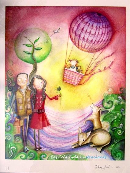José Luis y Gaby. Lápiz y acuarela sobre papel. Ilustración de Patricia Inda. Foto: Patricia Inda.