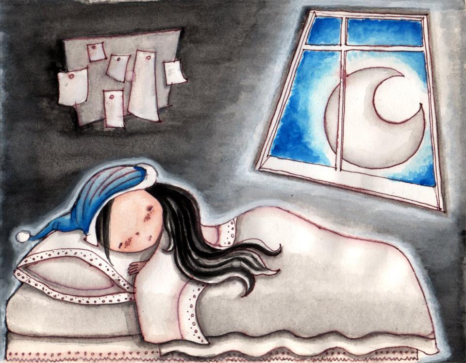 Niña Durmiente. Lápiz y acuarela sobre papel. Ilustración de Patricia Inda. Foto: Patricia Inda