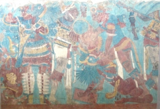 Fragment of Mesoamerican pre-Columbian mural painting. Cacaxtla arqueological site, Mexico. Photo: Ximena Jordan