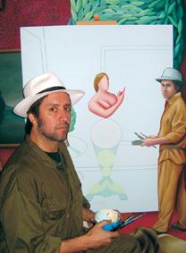 Andrés Ovalle auto-retratándose en una de sus obras.